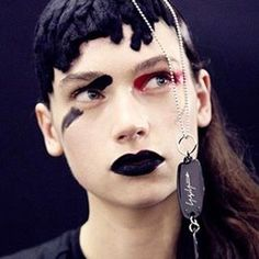 Dark and powerful from the edgy textured hair to the black lips: the look @yohjiyamamotoofficial via @streetersldn #backstagebeauty #mua #makeup #pfwfw17 #makeupartist #darklips #hairart #eugenesouleiman #creativemakeup #beautyinspo #instabeauty #makeupinspo via TUSH MAGAZINE OFFICIAL INSTAGRAM - Celebrity Fashion Haute Couture Advertising Culture Beauty Editorial Photography Magazine Covers Supermodels Runway Models