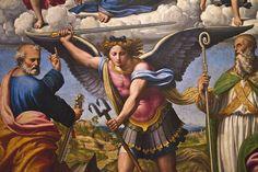 Francucci Innocenzo detto Innocenzo da Imola, Madonna col Bambino in gloria e i Santi Michele Arcangelo, Pietro e Benedetto (detail #2)