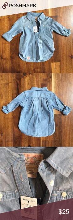 Ralph Lauren Girls Chambray Shirt 4T Ralph Lauren Girls Chambray Shirt 4T. NWT. Button down and roll up Sleeve with button tabs. Please see the coordinating cream riding pants also in my closet.  From a non-smoking and pet-free home. Ralph Lauren Shirts & Tops Button Down Shirts