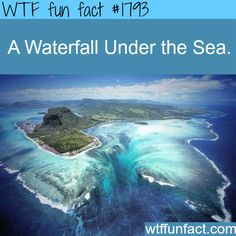 Underwater Waterfall, Mauritius Island in Africa. Strong ocean currents continually drive sand from the shores of Mauritius into the abyss below, creating this one-of-a-kind underwater waterfall. Places To Travel, Places To See, Beautiful World, Beautiful Places, Amazing Places, Amazing Things, Wonderful Places, Beautiful Ocean, It's Amazing