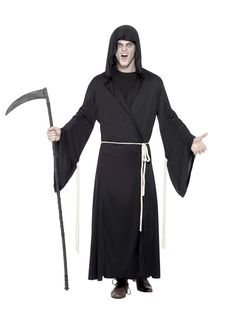 Grim Reaper Costume Grim Reaper Costume Black with Hooded Robe & Rope Belt 100 Grim Reaper Halloween Costume, Halloween Costumes, Halloween Party Themes, Adult Halloween, Angel Of Death Costume, Halloween Costume Accessories, Costume Shop, Chucky, Christmas Costumes