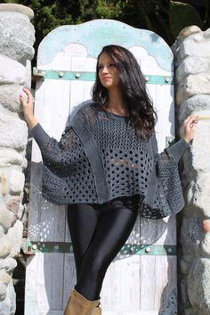 CROCHET WING poncho sweater in charcoal