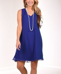 Look what I found on #zulily! Royal Blue V-Neck Chiffon Shift Dress #zulilyfinds
