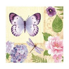 Each package includes 16 In the Garden 2-ply paper beverage napkins featuring spring floral garden design with butterflies, perfect for any spring or Easter celebrations.