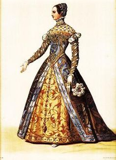"""Tudor fashion of the mid-fifteen hundreds was influenced heavily by fashions of Italy and France. In this fashion plate depicting Catherine de Medici, the sleeves emerging from a puff or roll at the top and rapidly becoming close-fitting down to the cuff were called """"French sleeves"""" in England."""