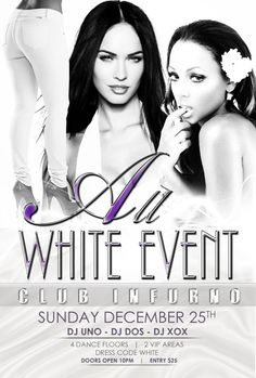 All white Event Party Flyer Design at DesignsnPrint.com