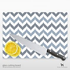 Chevron Glass Cutting Board YOU CHOOSE COLOR by TealPoodle
