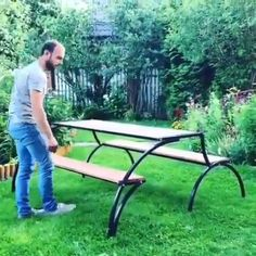 How to Build a # from wood with woodworking plans! *not every pic or post is in the wood plans package Wooden Table Diy, Outdoor Furniture Plans, Lawn Furniture, Metal Furniture, Outdoor Kitchen Patio, Wood Plans, Wood Working For Beginners, Woodworking Projects Plans, Diy Woodworking