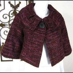 """Arden B Cropped One Button Burgundy Jacket. Arden B Cropped 3/4 Sleeve burgundy Jacket. Size M measurements :  15"""" Chest  16"""" Length  8"""" Sleeve Length. Gently used and excellent condition . No trade , no holding , no off sight payment . Arden B Tops Crop Tops"""