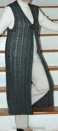 ABC Knitting Patterns - Long Lace Vest....I would have to stop this one at the hips