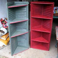 shutter corner shelves - cute for a bathroom or out on the deck or in my guest room