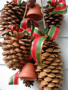 Can be used for Autumn or Christmas Decor with just a change of the ribbon.  Pretty pine cone swag