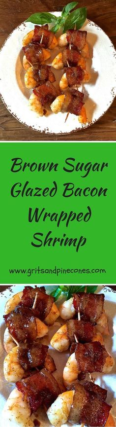 Looking for the perfect holiday party appetizer? Check out these delicious and easy salty/sweet Brown Sugar Glazed Bacon Wrapped Shrimp!  via @http://www.pinterest.com/gritspinecones/