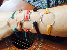Recycled Guitar String-Eternity Bracelet made with Soft Deerskin Leather Bracelet Making, Jewelry Making, Eternity Bracelet, Guitar String Jewelry, Deerskin, Life Symbol, Red Turquoise, Necklaces, Bracelets
