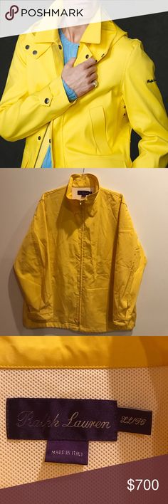 Authentic Ralph Lauren Purple Label Rain Coat Authentic. Limited signs of wear. Beautiful multipurpose jacket. Elastic waist that can be adjusted to be as loose or snug as desired. Additional pockets on one shoulder and on inside of one side as pictured. Wrinkles will come out after being hung for a short time. Can post new pictures in a week if no one snatches this up sooner. First photo is not accurate, it is a similar (newer) model from same designer. This is a killer deal…