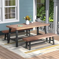 Harper & Bright Designs Holdrege Rustic Metal Wood Outdoor Dining Set - The Home Depot Indoor Outdoor Kitchen, Outdoor Dining Set, Patio Dining, Outdoor Tables, Patio Chairs, Table And Bench Set, Table Seating, A Table, Dining Table