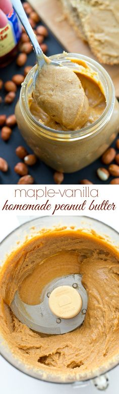 You'll never go back to store-bought peanut butter after one taste of this smooth, creamy homemade peanut butter, that's lightly flavored with maple syrup and vanilla. @WholeHeavenly