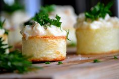 Potato cups filled with crab salad