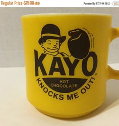 Sale Vintage KAYO Hot Chocolate  Advertising Mug, Knocks Me Out by ColsonsCollectibles on Etsy https://www.etsy.com/listing/279920834/sale-vintage-kayo-hot-chocolate
