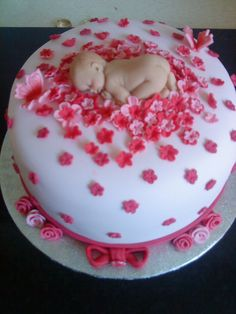 baby girl shower cake - butterflies, flowers and of course a baby.