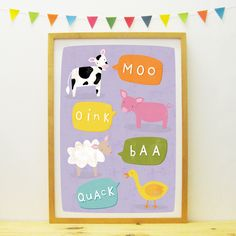 Hello Animals poster/print (purple) by PaperPenknife on Etsy