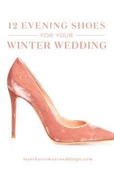 12 Evening Shoes for Your Winter Wedding | Martha Stewart Weddings - The evening shoe equivalent to a chunky knit, these plush velvet pumps feel special yet seasonal.