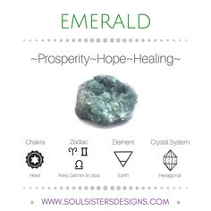 Metaphysical Healing Properties of Emerald, including associated Chakra, Zodiac and Element, along with Crystal System/Lattice to assist you in setting up a Crystal Grid. Go to https:/soulsistersdesigns.com to learn more!