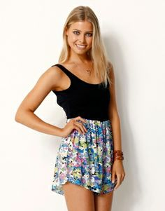 PARTY* PRINTED CONTRAST PLAYSUIT - PARTY* PRINTED CONTRAST PLAYSUIT WITH LOOSE FIT SHORTS - Jumpsuits
