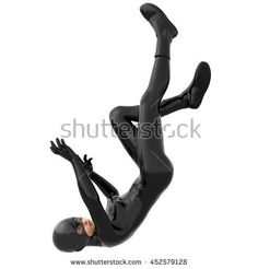 one young girl in a tight black super suit. In the fall. Back down. The Visible face. 3D rendering, 3D illustration - stock photo