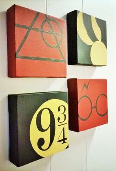 A set of 4 Harry Potter Minimalist Hand by ShinyShoesnDecor potter canvas art Items similar to A set of 4 Wizard Minimalist Hand Painted Acrylic Canvas on Etsy Harry Potter Canvas, Décoration Harry Potter, Harry Potter Thema, Harry Potter Painting, Harry Potter Nursery, Harry Potter Classroom, Harry Potter Birthday, Harry Potter Wall Art, Harry Potter Sorting