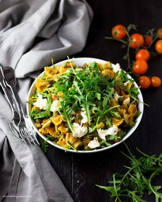 Farfalle with a Pumpkin Arugula Sauce for a healthy, delicious and vegetarian Lunch.