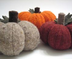 Reclaimed felted wool sweater pumpkins!