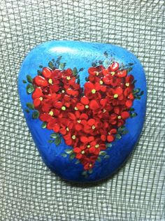 Rosetta - hand-painted rock,for giving and for getting,  blue, red flowers,