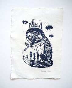 Fox in woodland Original Linocut print by BelsArt on Etsy, $20.00