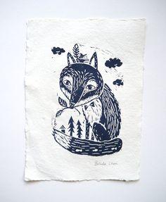 Fox in woodland- Original Linocut print