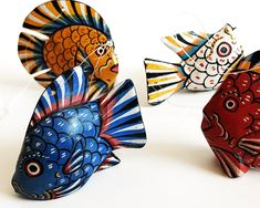 4 Vintage Wood Fish, Likely Mexican, Painted Folk Art Fish, Oaxacan Alebrije Style, circa Vintage Wood, Vintage Items, Folk Art Fish, Wood Fish, Wood Carving, Mexican, 1990s, Beach, Handmade