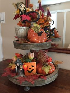 Halloween decor Galvanized Tiered Tray, Halloween Treats, Holidays Halloween, Halloween Displays, Halloween Diy, Tiered Stand, 3 Tier Stand, Tier Tray, Thanksgiving Decorations