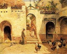 Feeding Poultry in a Courtyard by Manuel Garcia Rodriguez
