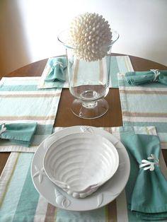 Beautiful white seashell plates from Pottery Barn <> (tablescape, place… Nautical Table, Nautical Home, Nautical Dishes, Nautical Kitchen, Seaside Decor, Coastal Decor, Coastal Style, Coastal Living, Dream Beach Houses