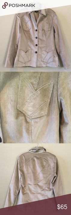 "Juliana Collezione Corduroy Jacket Light Green Corduroy Jacket. 25 1/2"" Long. 50% Cotton 49% Rayon 1% Spandex Jackets & Coats Blazers"