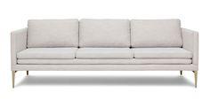 Living Room Sofa Cream - Ivory White Sofa With Metal Legs Article Triplo Contemporary Furniture Mid Century Modern Sofa, Mid Century Sofa, Mid Century Furniture, Contemporary Interior Design, Contemporary Furniture, Scandinavian Furniture, Scandinavian Style, Interior Designing, Modern Interior