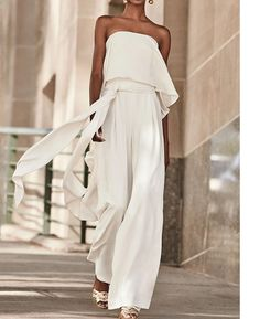 Sexy Pure Colour Belted Off-Shoulder Sleeveless Jumpsuits – Women's Fashion Sexy Outfits, Mode Outfits, Fashion Outfits, Womens Fashion, Petite Fashion, Curvy Fashion, Spring Fashion, Style Fashion, Tube Top Dress