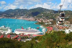 Cruise ships & Cable cars. St Thomas USVI