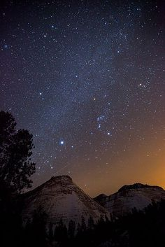 Orion and the milky way over Zion, Utah by Jeff Sullivan
