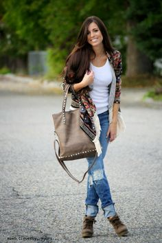 Aztec Fringe Cardigan, V-neck white tee, Ripped Jeans, & Booties