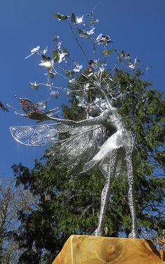 Wired to the Moon, Unique Wire Sculptures, Fairy, Butterflies, Garden, Art, Ireland, Tonya Clifford, Commission, Hand-Made