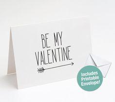 Be My Valentine Printable Card, Love Arrow, Printable Valentine, Love Note, DIY Card, Black and White, Envelope, Valentine's Day Card Printable Valentine, Printable Cards, Be My Valentine, Printables, Diy Cards, Your Cards, Card Envelopes, Love Notes, Colored Paper