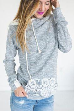 DoubleHood Sweatshirt - Lace - Mindy Mae's Market