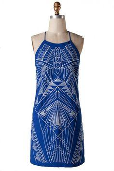 Full Spectrum Embroidered Shift Dress - Blue