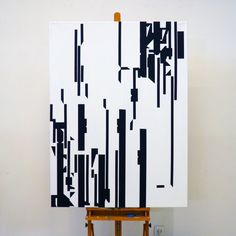 Black white painting artists linear abstract